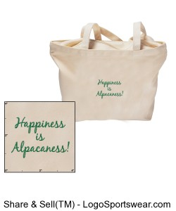 Happiness is Alpacaness!  Zippered Tote Bag Design Zoom